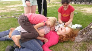 Yep, that's ElvenTiger on the bottom of the pile of kids.